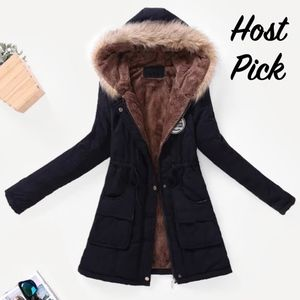 Hooded Faux Fur Drawstring Black Parka Jacket